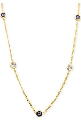 Bilezikci Göz Boncuklu Tiffany Altın Zincir Kolye