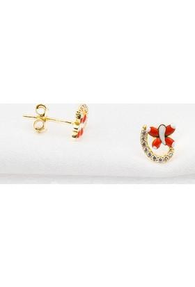 Bilezikci Kırmızı Kelebekli Altın Mini Genç Küpesi