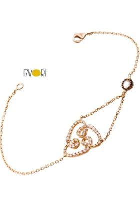 Favori Gold Vav Harfli Rose Altın Bileklik