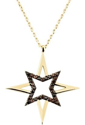 Favori Gold Topaz Taşlı Yıldızlı Altın Kolye
