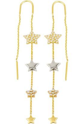 Favori Gold Tria Yıldızlı Altın Zincir Küpe
