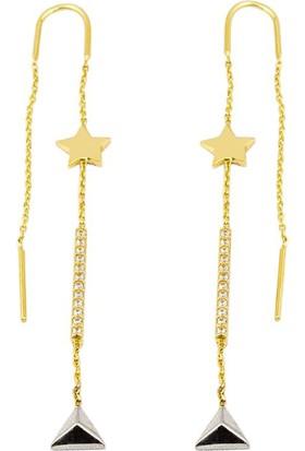 Favori Gold Yıldızlı Suyolu Altın Zincir Küpe