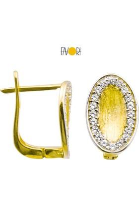 Favori Gold Taşlı Baget Altın Küpe
