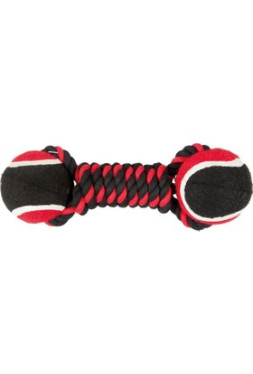 Çift Toplu İp Sargı 2 Toplu Köpek Oyuncağı (Kırmızı/Siyah) 22 Cm