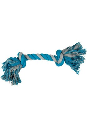 Çift Düğümlü İp Köpek Oyuncağı (Mavi/Gri) 35 Cm