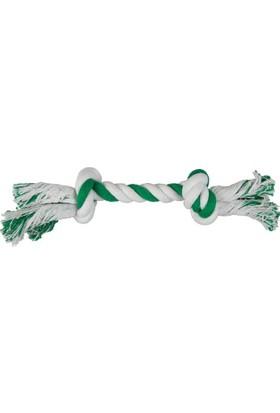 Çift Toplu İp Sargı Köpek Oyuncağı (Beyaz/Yeşil) 30 Cm