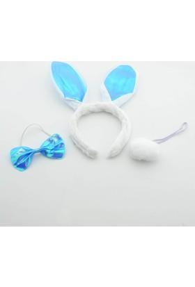 Mavi Tavşan Taç Seti - 23 Nisan Etkinlik Çocuklar İçin Tavşan Taç Seti