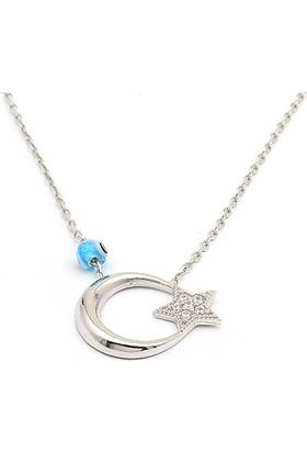 Takıhan 925 Ayar Gümüş Nazar Boncuklu Ayyıldız Kolye Th1020