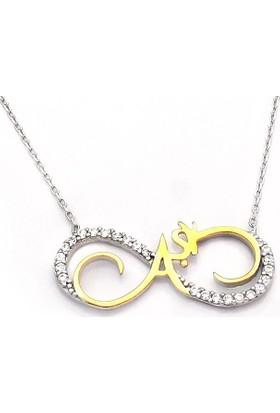 Takıhan Sonsuzluk Aşk Model Zirkon Taşlı Kadın Gümüş Kolye Th495