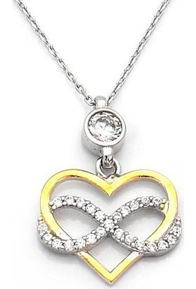 Takıhan Sonsuzluk Kalp Motifli Zirkon Taşlı Kadın Gümüş Kolye Th496