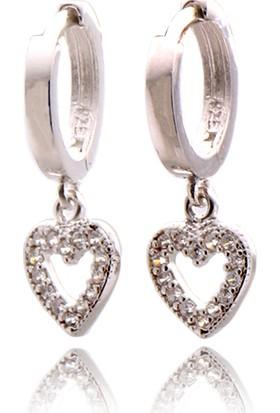 Takıhan Zirkon Taşlı Kalp Motifli Gümüş Küpe Th995