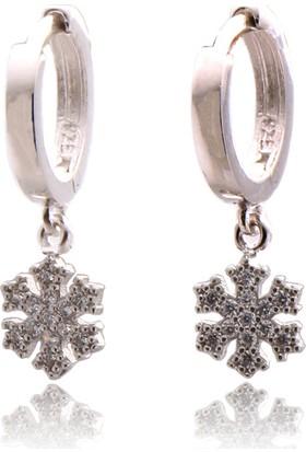 Takıhan Zirkon Taşlı Kar Tanesi Gümüş Küpe Th992
