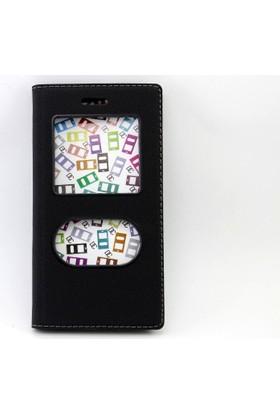Diamond Huawei Gr3 Gizli Mıknatıslı Pencereli Kapaklı Kılıf + Jelatin