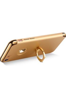 Joyroom Joyroom Appe iPhone 7 Selfie Yüzüklü Metal Rubber Kılıf + Nano Jelatin