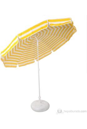 Ünvanli Sarı Beyaz 220 Cm 10 Telli Bahçe Plaj Şemsiye + Bidon Hediyeli