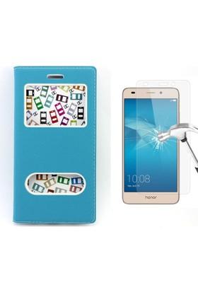 Diamond Huawei Ascend GT3 Kılıf Gizli Mıknatıslı Pencereli +Cam