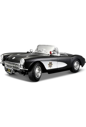 Maisto 1:18 1957 Chevrolet Corvette Police Model Araba S/E