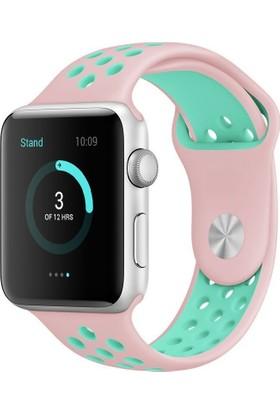 Case 4U Apple Watch 42mm Delikli Spor Kayış Pembe/Yeşil