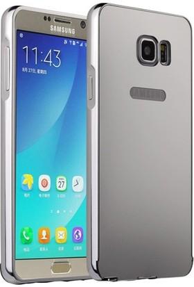 Case 4U Samsung Galaxy Note 5 Kılıf Aynalı Bumper Gümüş