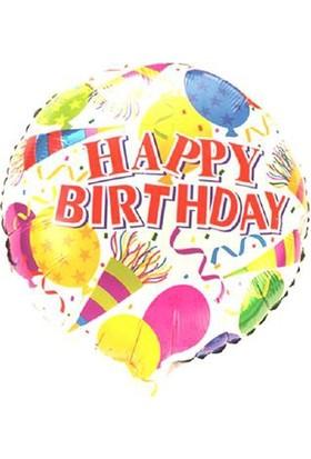 Partypark Happy Birthday Folyo Balon Renkli Balon 45Cm