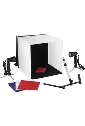 Hobimtek Taşınabilir Işıklı Ürün Çekim Seti Çekim Çadırı 60 x 60 2 Led Işık 1 Tripod 4 Arka Fon