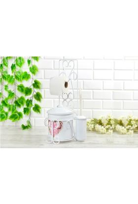 Ahzeli Dekoratif Havluluk Tuvalet Kağıtlığı Banyo Seti Wc Çöp Kovası