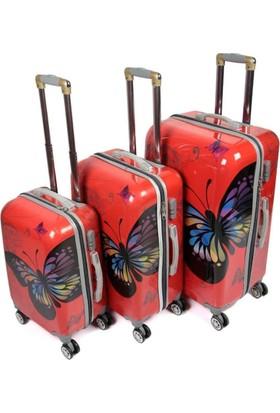 Laguna 255 Kırmızı Kelebek 3lü Valiz Bavul Seti