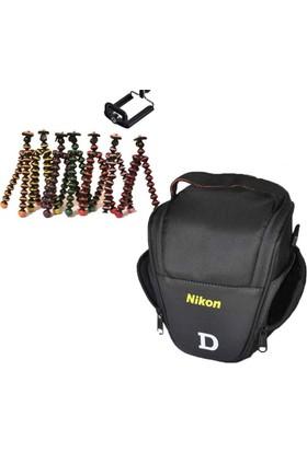 Nikon DSLR Omuz Çantası Üçgen Çanta + Mini Tripod Gorillapod