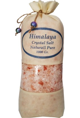 Himalaya İthal Himalaya Tuzu Granül İri Tane Açık Pembe - 1 Kg. Orjinal Bez Torba