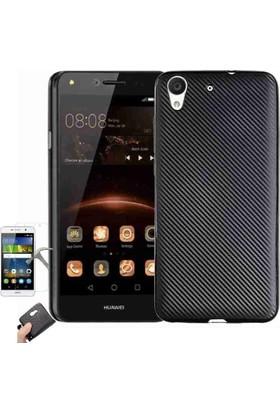 Teleplus Huawei Y6 2 Karbon Silikon Kılıf + Cam Ekran Koruyucu