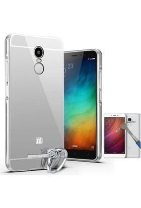 Teleplus Xiaomi Redmi Note 4 Aynalı Metal Kapak Kılıf + Cam Ekran Koruyucu