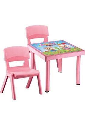 Hepsi Dahice Çocuk Masası 50X50 Desenli 2 Adet Jumbo Sandalye Hediyeli Kız