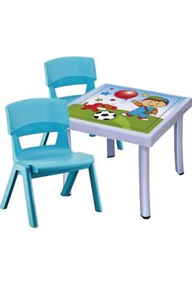 Hepsi Dahice Çocuk Masası 50X50 Desenli 2 Adet Jumbo Sandalye Hediyeli Erkek