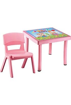 Hepsi Dahice Çocuk Masası 50X50 Desenli 1 Adet Jumbo Sandalye Hediyeli Kız
