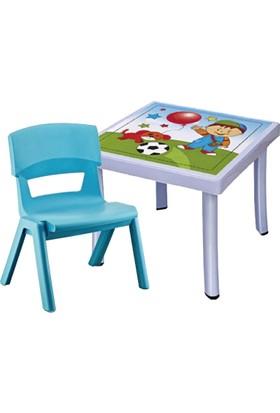 Hepsi Dahice Çocuk Masası 50X50 Desenli 1 Adet Jumbo Sandalye Hediyeli Erkek