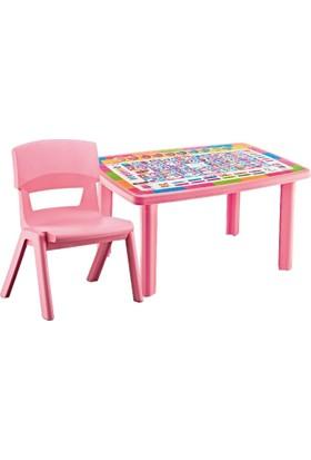 Hepsi Dahice Çocuk Masası Desenli 70*100 1 Adet Jumbo Sandalye Hediyeli Kız