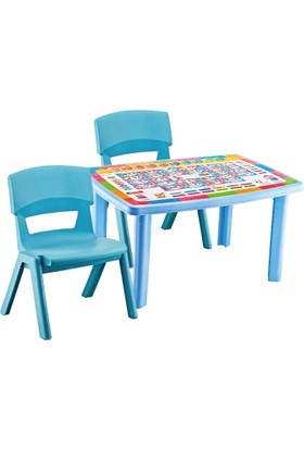 Hepsi Dahice Çocuk Masası Desenli 70*100 2 Adet Jumbo Sandalye Hediyeli Erkek