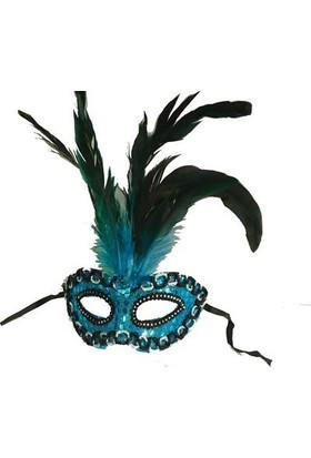 TveT Halka İşlemeli Venedik Parti Maskesi - Mavi