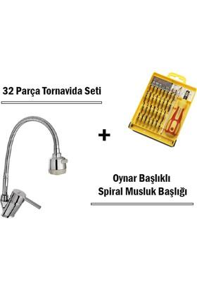 TveT Oynar Başlıklı Spiral Musluk Başlığı + 32 Parça Tornavida Set