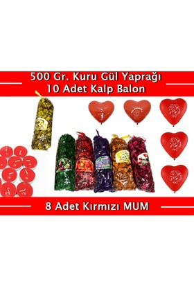 TveT Renkli Kokulu Gül Yaprakları 500 Gr + 10 Kalpli Balon + 8 Kırmızı Mum
