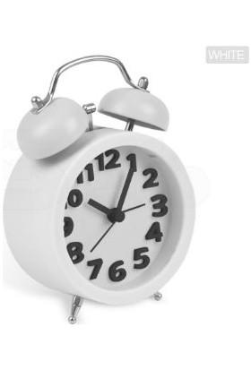 TveT Twin Bell 3D Masaüstü Alarmlı Saat - Beyaz