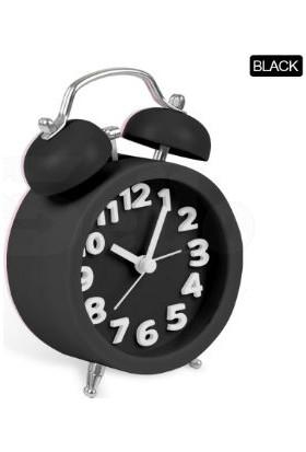 TveT Twin Bell 3D Masaüstü Alarmlı Saat - Siyah