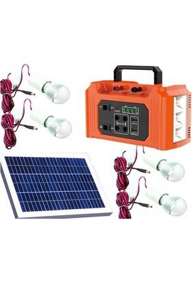 Güneş Enerji Sistemi Projektör 10 W Solar Aydınlatma 4 Lambalı 2 Usb Powerbank Solar Seti