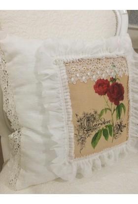 Victorian Rose Boutique Güllü Keten Fırfırlı Yastık