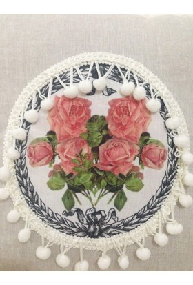 Victorian Rose Boutique Keten Güllü Shabby Chic Yastık