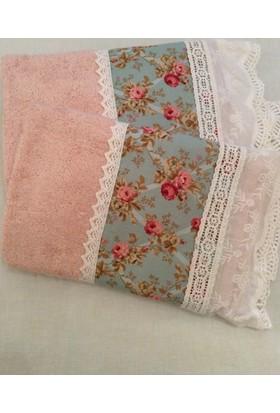 Victorian Rose Boutique Victorian Pembe Çiçekli Havlu Takım