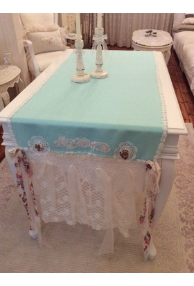 Victorian Rose Boutique French Blue Keten Runner