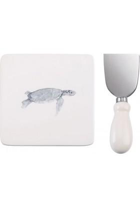 Evdebir Kaplumağa Figürlü Peynir Tabağı Ve Bıçak Set