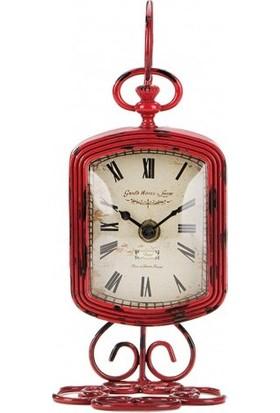 Evdebir Standlı Eskitme Metal Kırmızı Saat