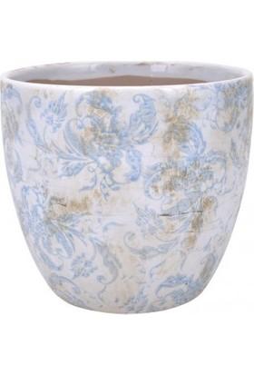Evdebir Mavi & Beyaz Çiçekli Seramik Saksı